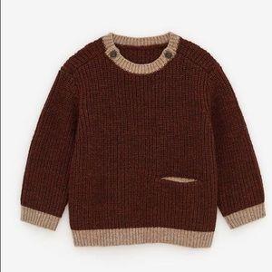 🟠 NWT ZARA Contrasting Knit Wool Sweater